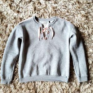 Ikks gray sweatshirt with pink ribbon size small